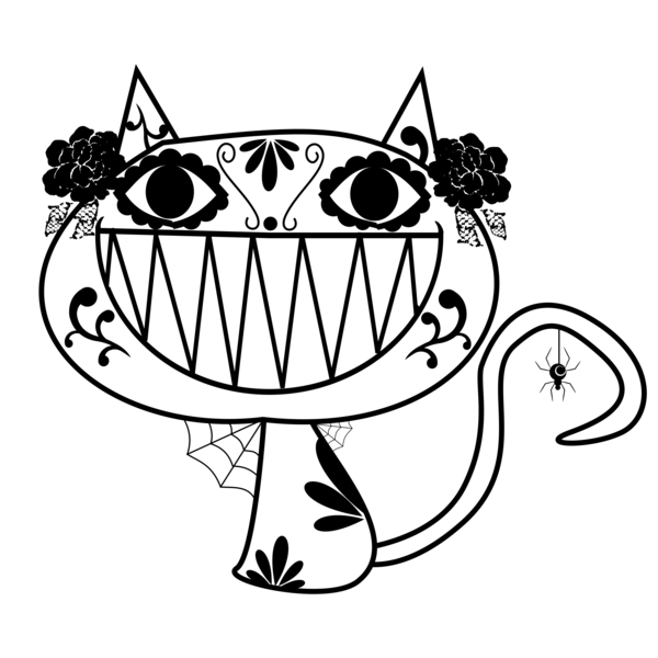 Transparent Cat Black And White Line Art Head Clipart for Animals