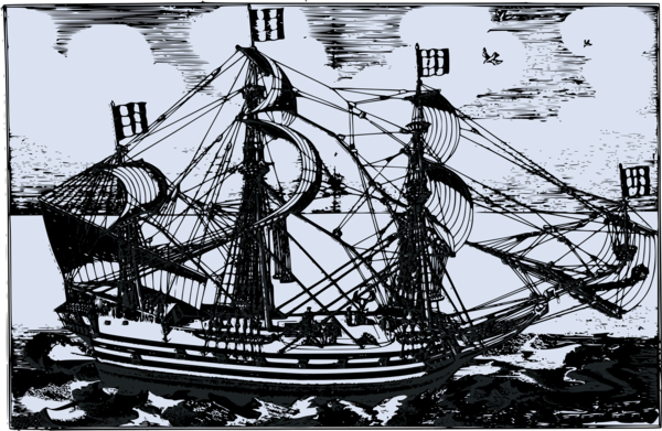 Transparent Sailing Sailing Ship Caravel Black And White Clipart for Activities