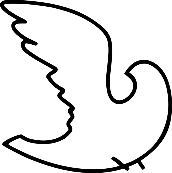 Transparent Bird Face Black And White Line Art Clipart for Animals