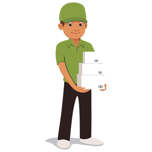 Transparent Delivery Standing Cartoon Male Clipart for Business