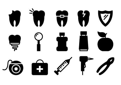 Transparent Dental Black And White Text Silhouette Clipart for Medical