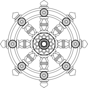 Transparent Buddhist Line Art Black And White Circle Clipart for Religion