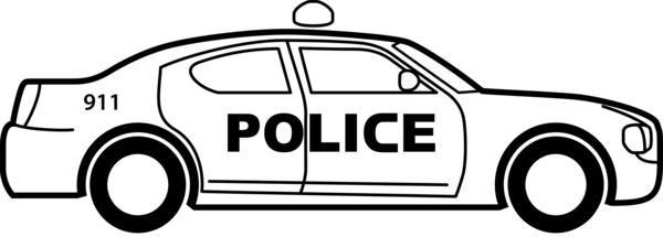 Transparent Police Car Vehicle Black And White Clipart for Occupations