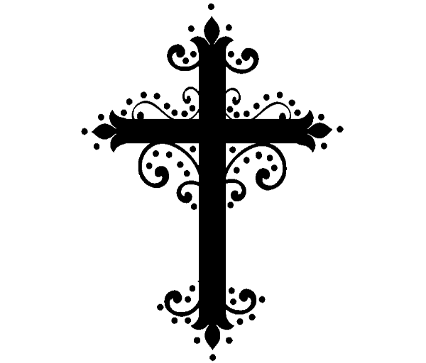 Transparent Church Cross Black And White Line Clipart for Religion
