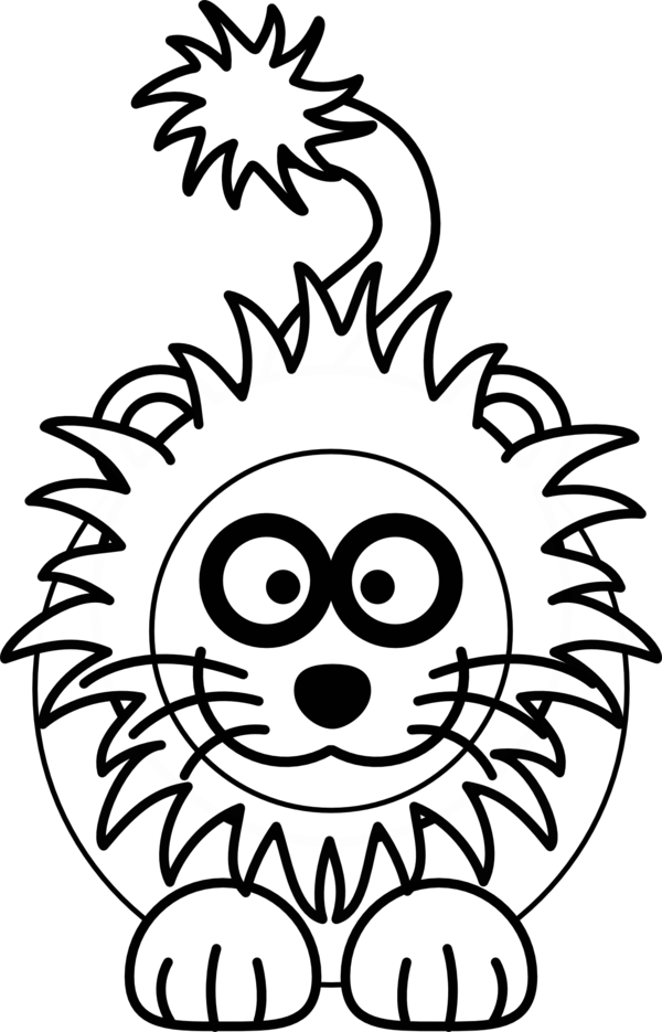 Transparent Lion Flower Face Black And White Clipart for Animals