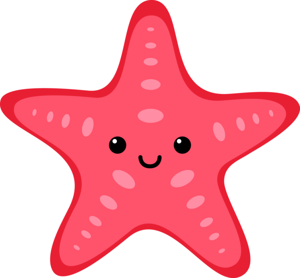 Transparent Ocean Starfish Cartoon Line Clipart for Nature