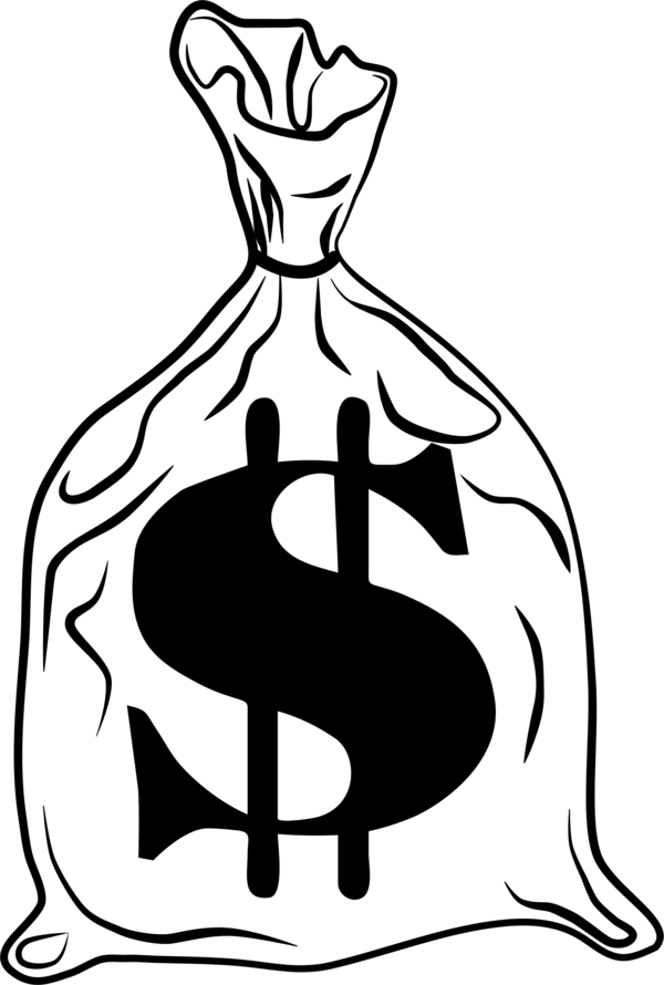 Transparent Money Black And White Line Art Male Clipart for Business
