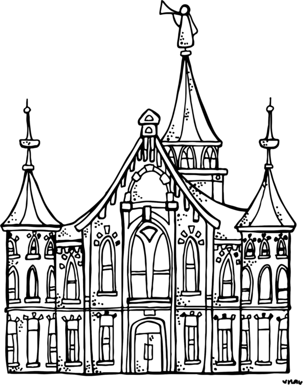 Transparent Book Black And White Landmark Medieval Architecture Clipart for School