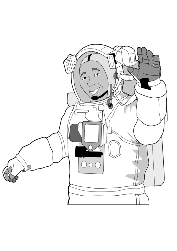 Transparent Astronaut Line Art Black And White Cartoon Clipart for Occupations