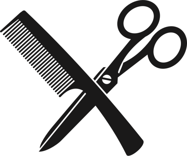 Transparent Barber Black And White Line Scissors Clipart for Occupations