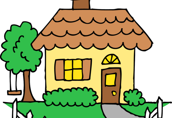 Transparent House Tree Line Home Clipart for Buildings