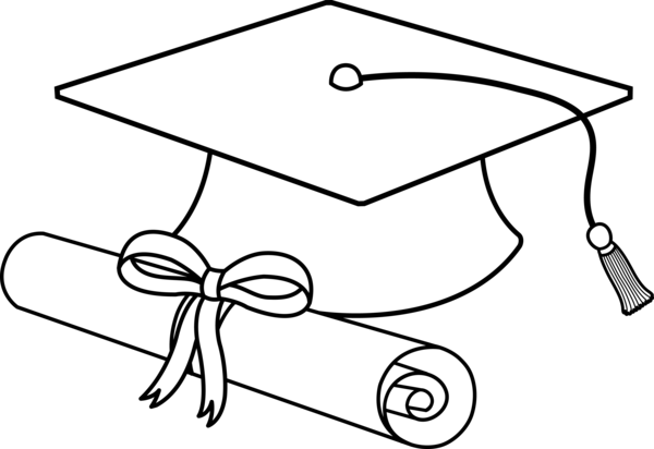 Transparent Diploma Black And White Text Line Art Clipart for School