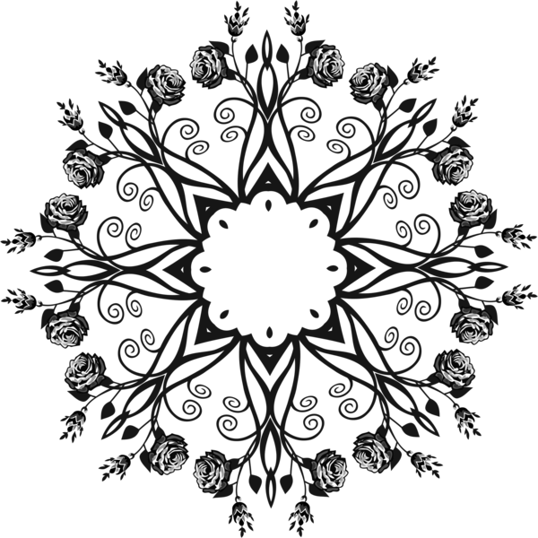 Transparent Leaf Flower Black And White Flora Clipart for Nature