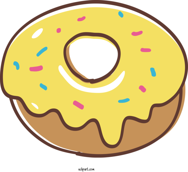 Free Food Doughnut Yellow Baked Goods For Donut Clipart Transparent Background
