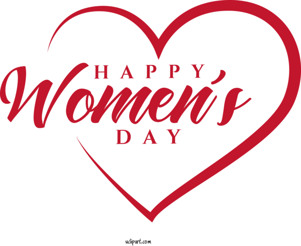 Free Holidays Heart Text Love For International Women's Day Clipart Transparent Background