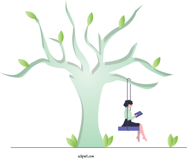 Transparent People Green Tree Branch For Girl for People