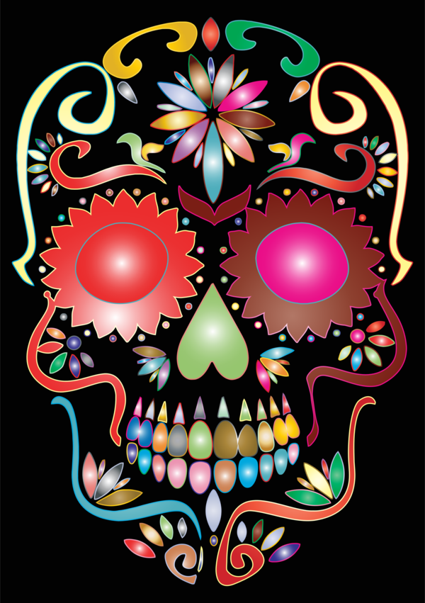Transparent Day Of The Dead Skull Bone Flower Clipart for Holidays