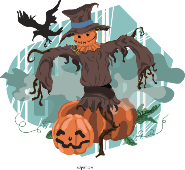 Free Holidays Scarecrow Scarecrow Cartoon For Halloween Clipart Transparent Background